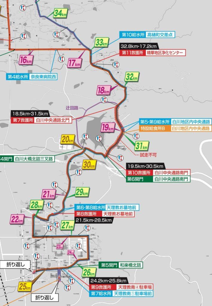 奈良マラソンの中盤コース図