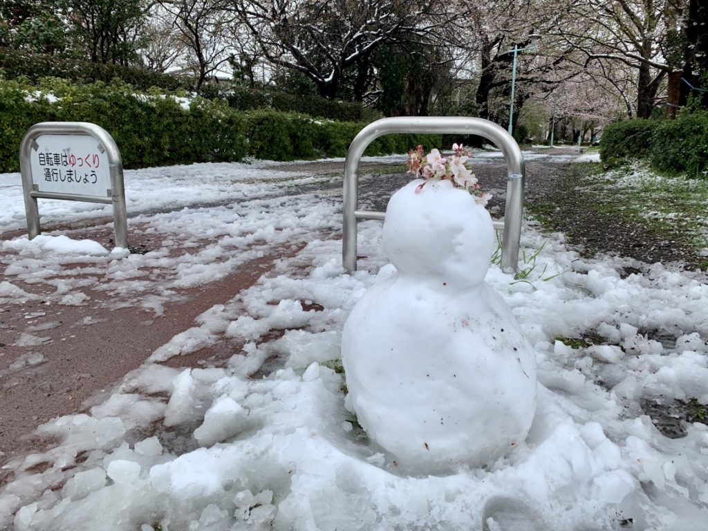 多摩湖自転車道を雪の日ランニング