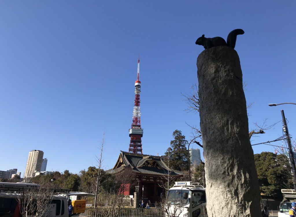 東京マラソンコース、右手に東京タワーと増上寺