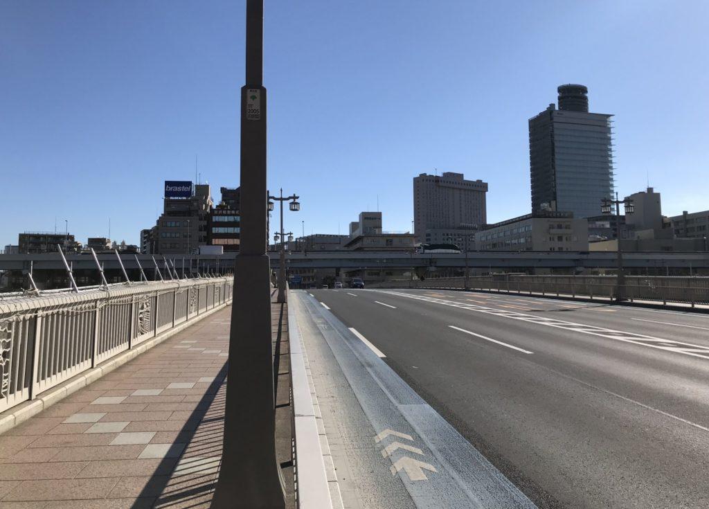 東京マラソンコースの蔵前橋