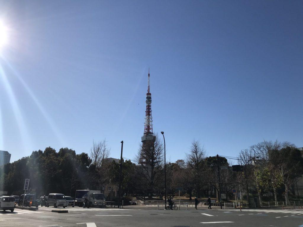 東京マラソンコースから望む東京タワー