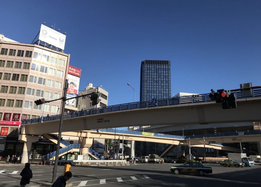 東京マラソンコース、飯田橋歩道橋