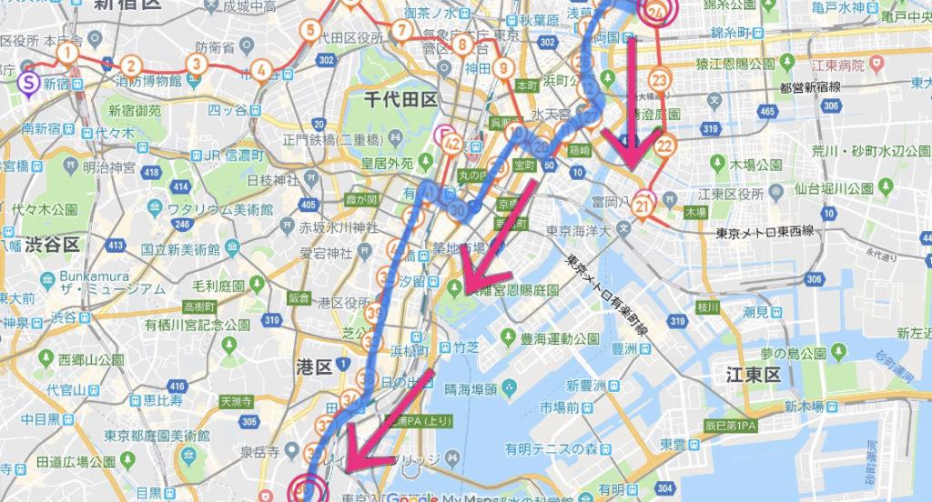 東京マラソンコース、蔵前橋〜品川