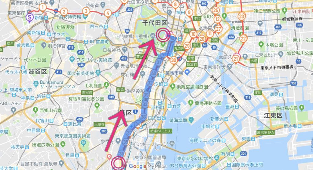 東京マラソンコース、品川〜ゴール