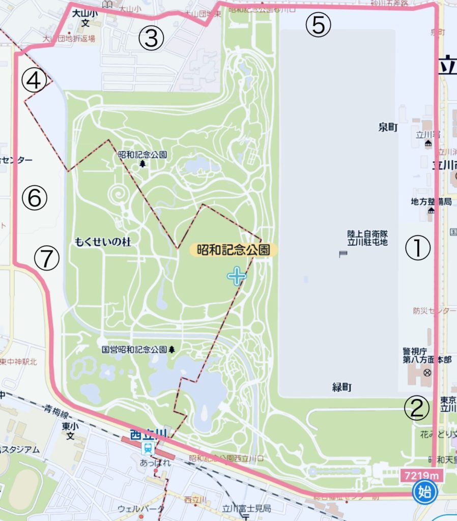 昭和記念公園外周コース図