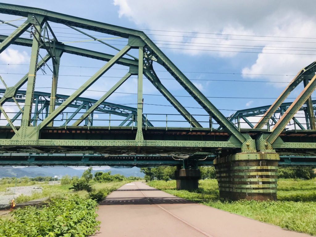 大井川リバティコースとJR鉄橋