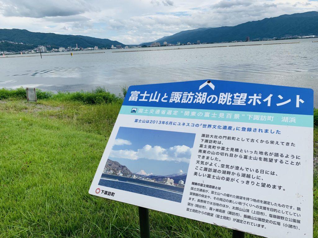 諏訪湖から富士山が見える件の看板