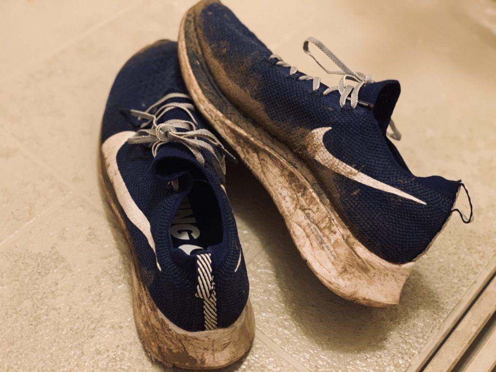 2019年つくばマラソンで泥だらけ