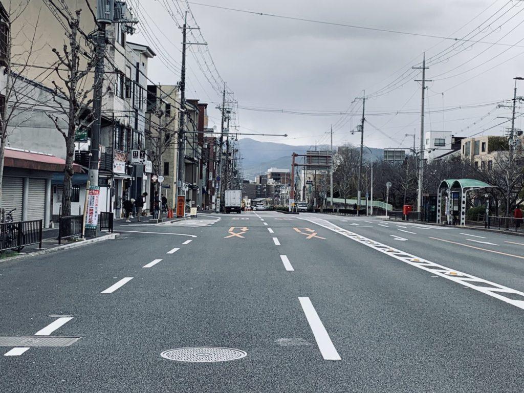 京都マラソン今出川通の最後の折り返しを過ぎればラストスパート
