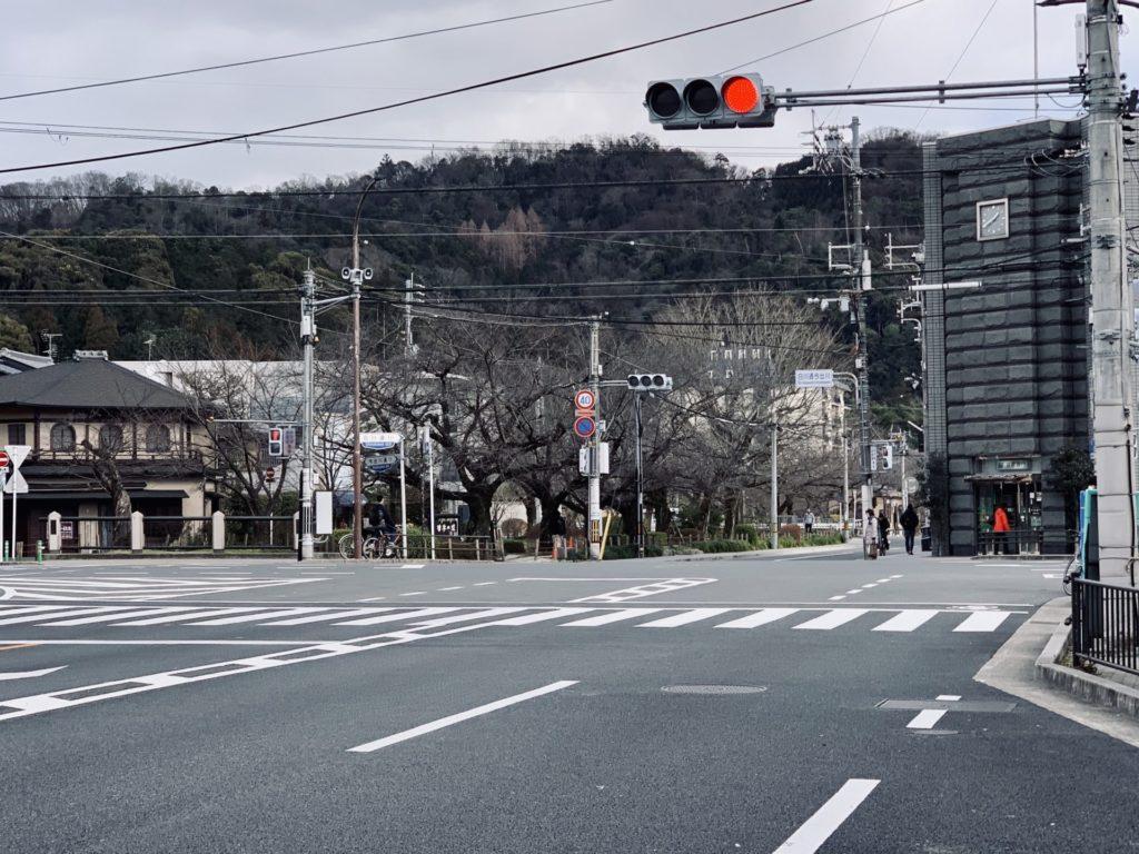 京都マラソン39キロ付近の今出川通の折り返し