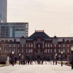 東京マラソンゴール地点から東京駅を望む