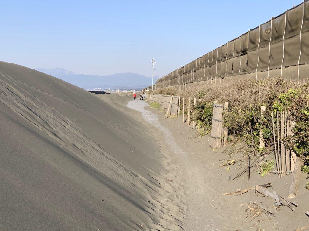 湘南サイクリングロードは堆砂でコースが狭い