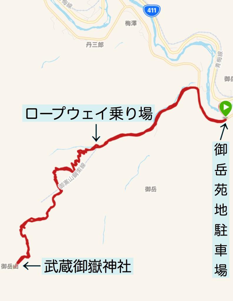 御岳坂道ラン行程