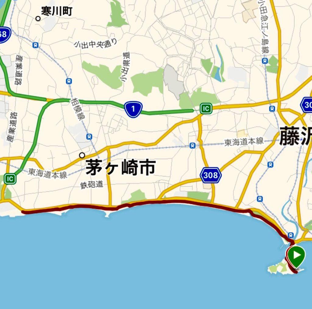 江ノ島から柳島までは全長約21キロ