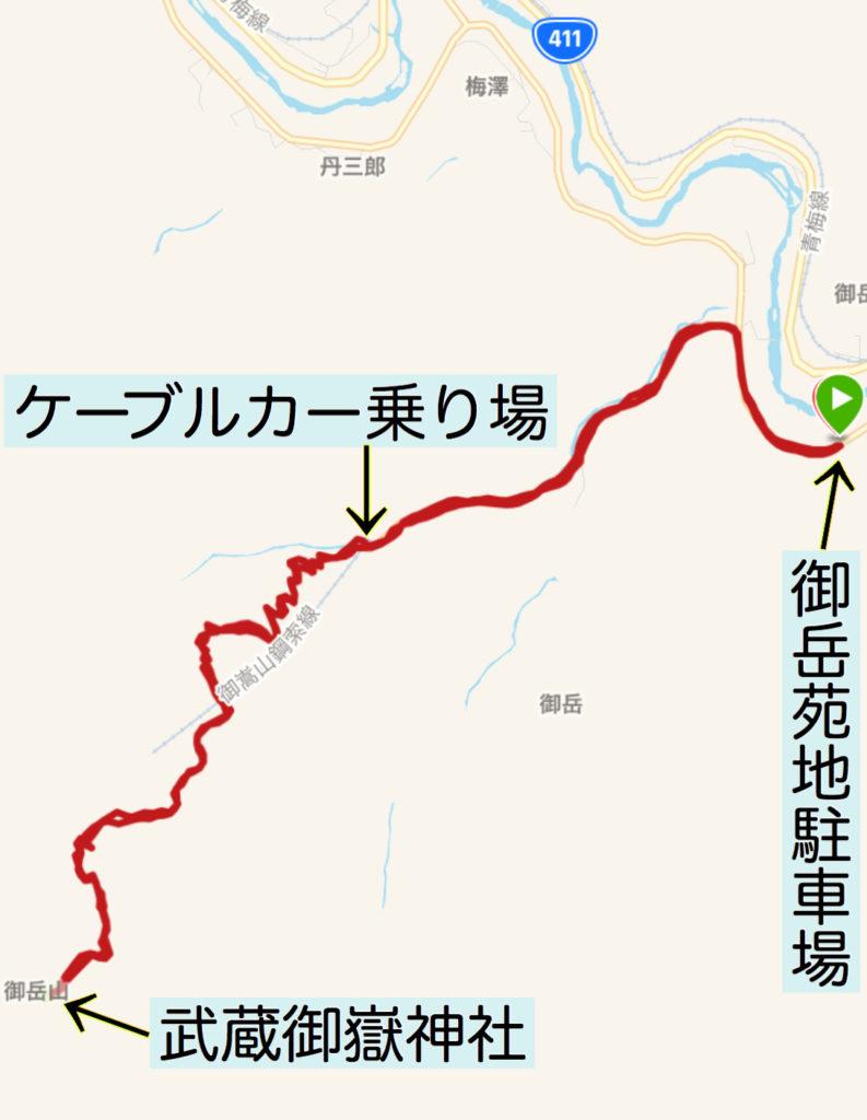 御岳苑地駐車場から武蔵御嶽神社往復ラン