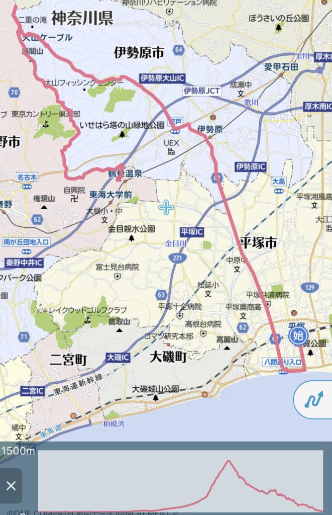 平塚駅〜海〜大山山頂〜鶴巻温泉駅ラン