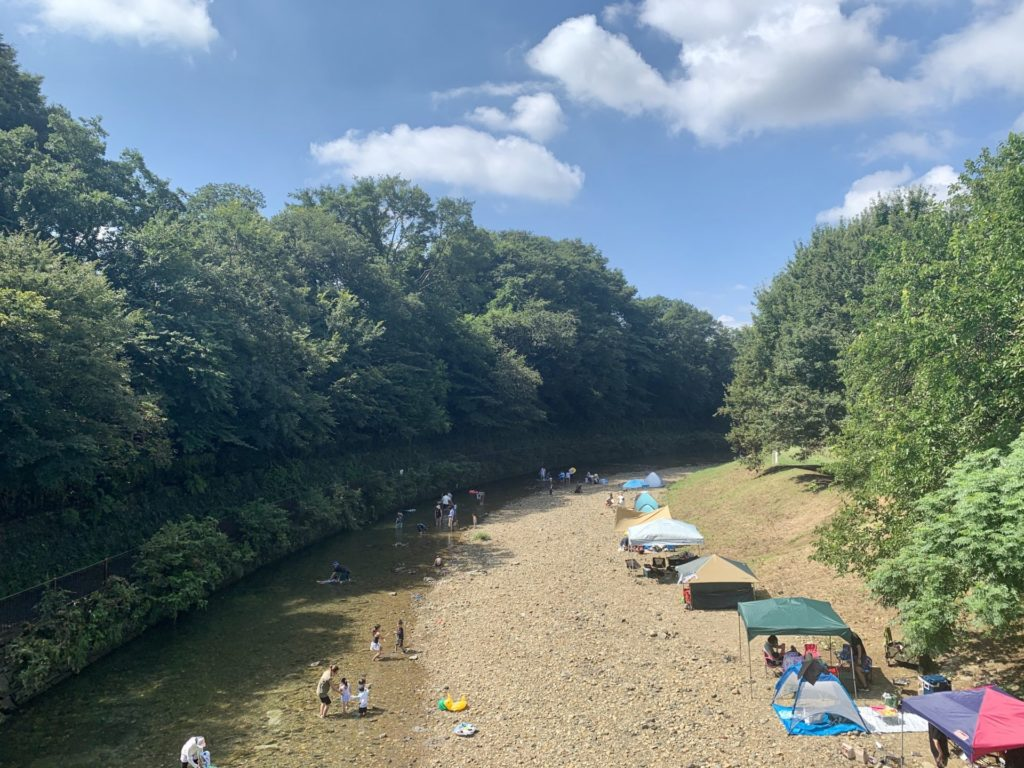 真夏に空掘川沿いをランニング