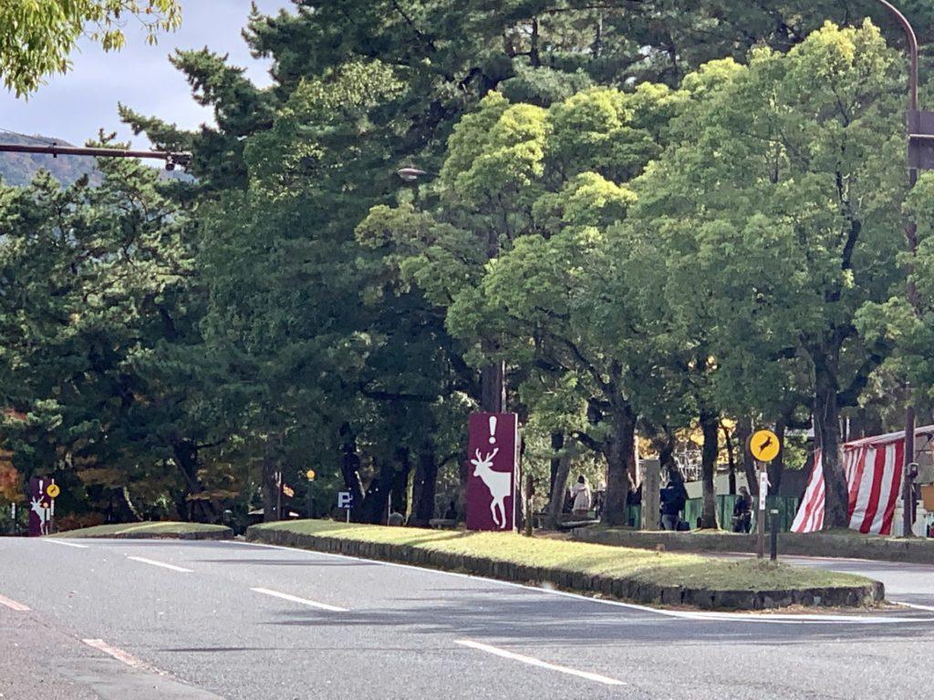 奈良マラソンのコースに鹿注意の看板