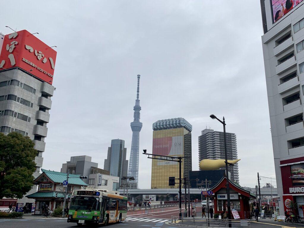 東京マラソンコース、浅草寺後に見る東京の名所