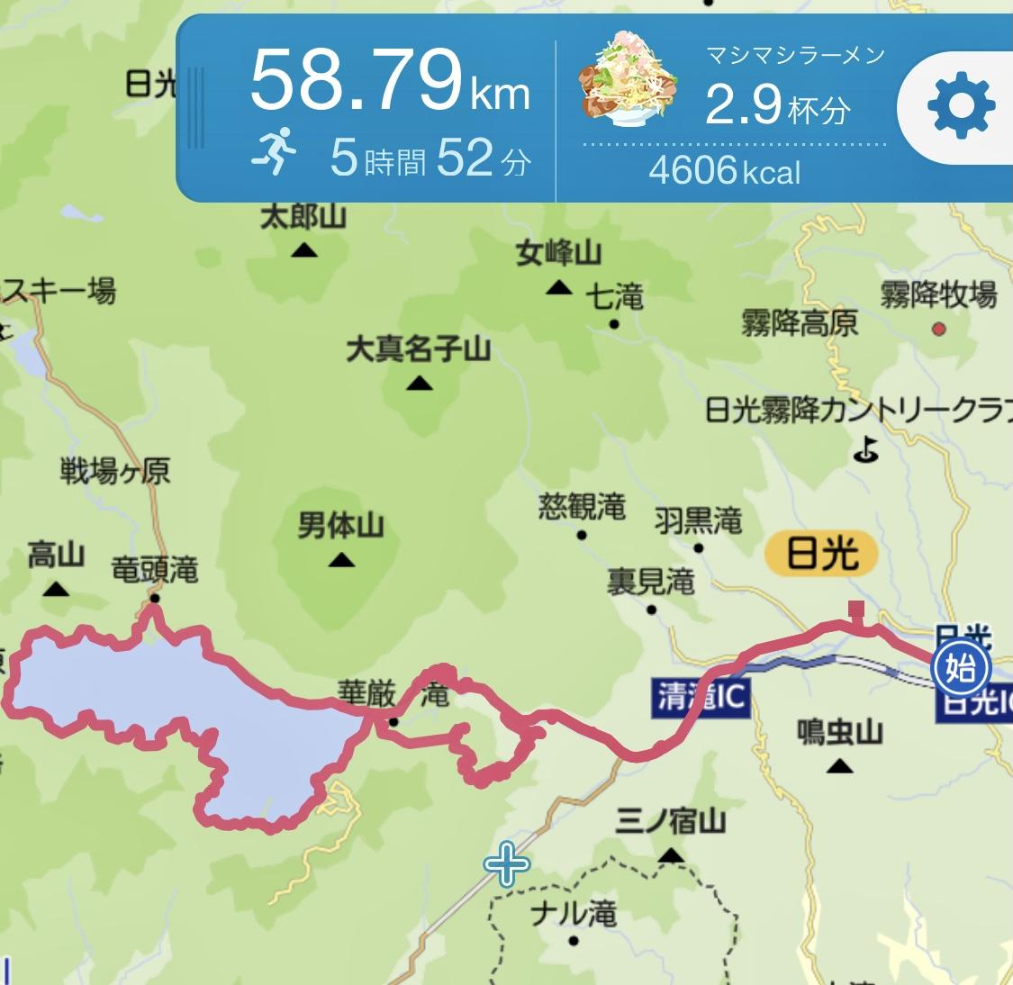 日光からいろは坂、中禅寺湖1周といろは坂をランで走破