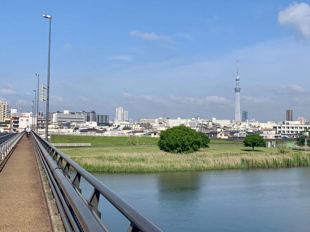 荒川を渡って千葉へラン