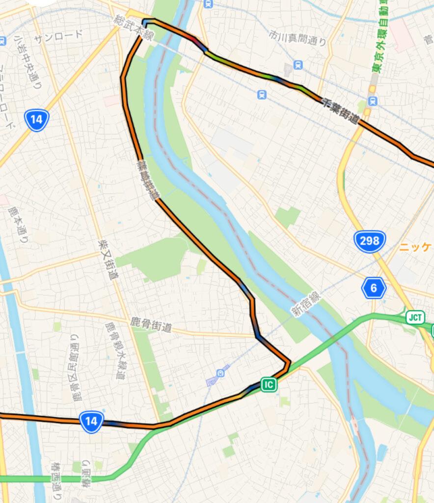 東京駅〜成田へのロング走、唯一の迂回路