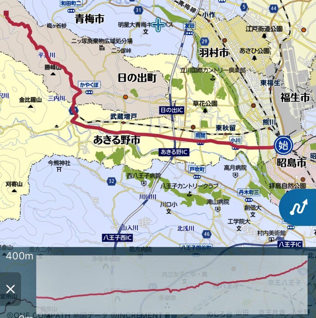 拝島駅からつるつる温泉までラン